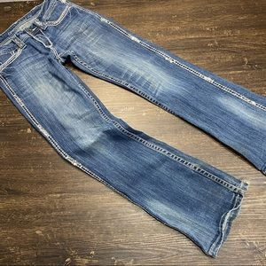 CowGirl Tuff Blingy Cross BootCut Jeans Size 26X31